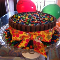 M&M Cake with Kit Kats…..
