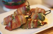 Bacon Wrapped Jalapeños Stuffed with Cheese